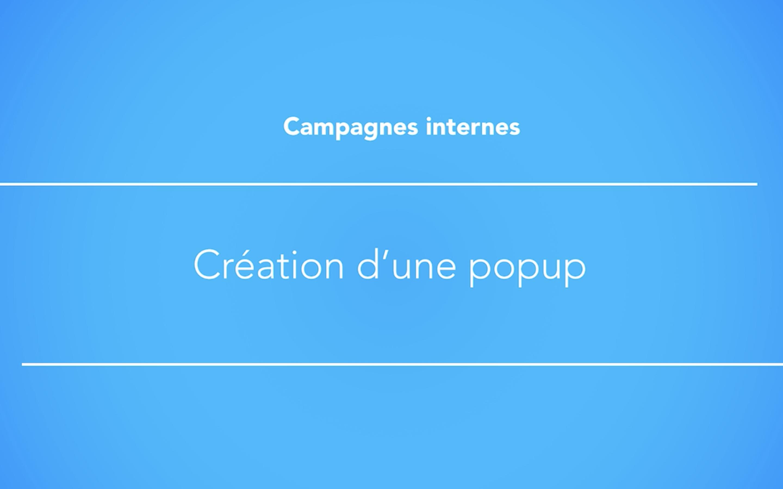 Créer une actualité sous la forme d'une pop up