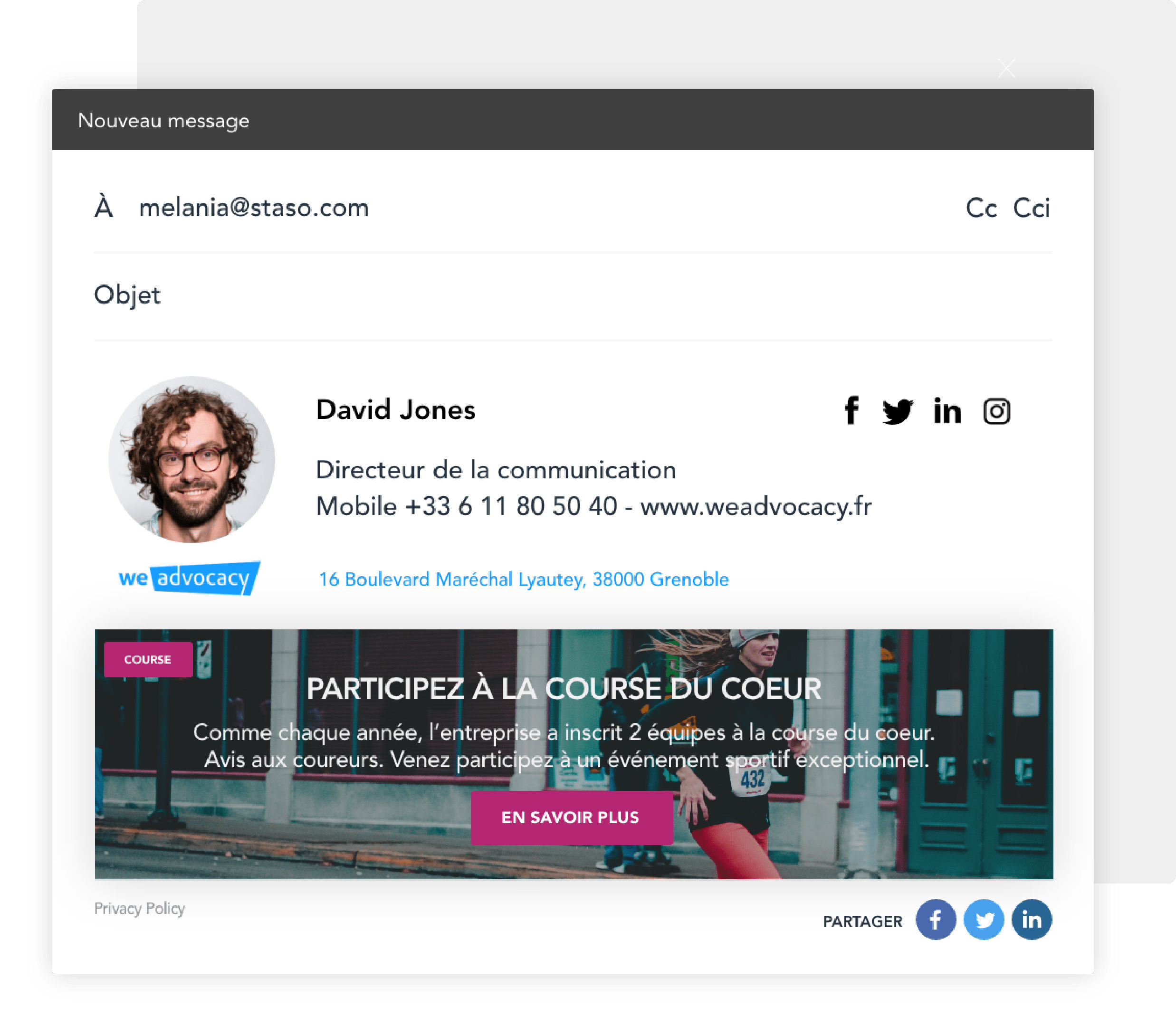 Landing page signature email
